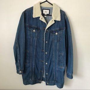Forever 21 longline sherpa jean jacket